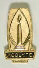 Acolyte Gold Lighted Candle Pin