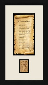 10 Commandments, Framed with Authentic Olivewood, 9 x 17