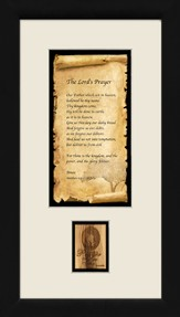 The Lord's Prayer, Framed with Authentic Olivewood, 9 x 17