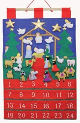 Tidings of Joy Fabric Advent Calendar w/Embroidered Figurines