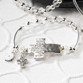 For God So Loved the World, Cross Inspirational Stretch Bracelet