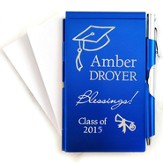 Personalized, Memo Holder With Pen, Graduation, Blue