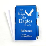 Personalized, Eagle's Wings Memo Holder With Pen, Blue