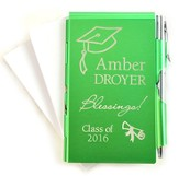 Personalized, Graduation, Memo Holder With Pen, Green