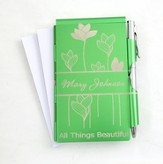 Personalized, All Things Beautiful Memo Holder With Pen, Green
