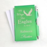 Personalized, Eagle's Wings Memo Holder With Pen, Green