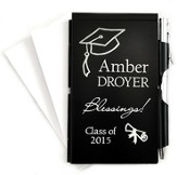 Personalized, Graduation, Memo Holder With Pen, Black