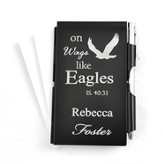 Personalized, Eagle's Wings Memo Holder With Pen, Black