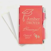 Personalized, Graduation, Memo Holder With Pen, Red