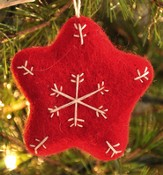 Snowflake Star Ornament, Red, Fair Trade Product