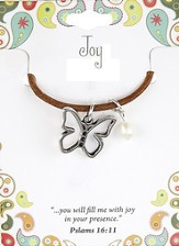 Joy Leather Necklace, Butterfly Charm