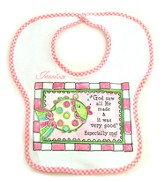 Personalized, God Saw All He Made Bib, Pink
