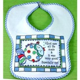 God Saw All He Made Bib, Blue