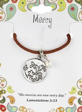 Mercy Leather Necklace, Flower Charm, Lamentations 3:23