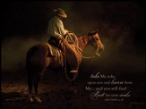 Taking A Break Cowboy, Take My Yoke, Matthew 11:29 Mounted Print