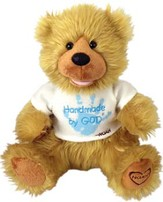 Plush Bear Handmade by God Blue Shirt