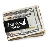 Personalized, Money Clip with Eagle and Name, Black