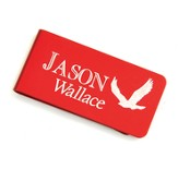 Personalized, Money Clip with Eagle and Name, Red