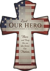 Personalized, Our Hero Flag-Print Cross