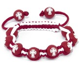 Cross Bead Bracelet, Red