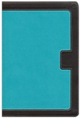 NKJV Giant Print Center-Column Reference Bible, Imitation Leather, Turquoise/Expresso Indexed - Imperfectly Imprinted Bibles