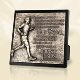 Moments of Faith Sculpture Plaque, The Goal to Win the Prize, Runner