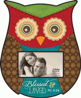 Blessed and Loved, Owl Shaped Photo Frame
