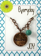 Believe, Copper Toned Necklace with Turquoise Bead