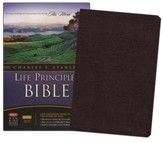NKJV Charles Stanley Life Principles Bible, Bonded leather, burgundy--indexed - Slightly Imperfect