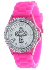 Silicone Watch with Cross, Pink, Medium