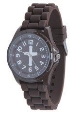 Silicone Watch with Cross, Brown, Large