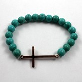 Sleek Cross, Turquoise Beaded Bracelet