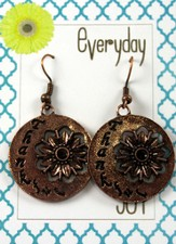 Thankful, Copper Toned Earrings