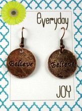 Believe, Copper Toned Earrings