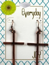 Sleek Cross, Copper Toned Earrings