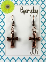 Hammered Cross, Copper Toned Earrings