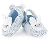 Crochet Bunny Baby Booties, Blue