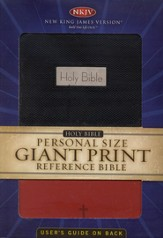 NKJV Personal Size Giant Print Reference Bible, Black/Red  Imitation Leather