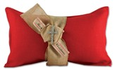 Merry Christmas Burlap Pillow with Cross Bling, Red