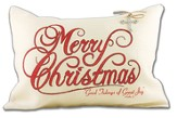 Merry Christmas and Good Tidings, Burlap Pillow with Cross Bling