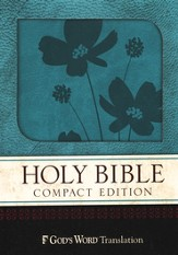 GOD'S WORD Compact Bible, Duravella, Turquoise/Brown Flower Design
