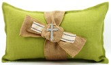 Burlap Pillow with Bling Cross, Green