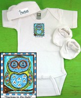 Owl Newborn Gift Set, Precious In His Sight, Blue