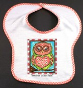 Owl Bib, Precious In His Sight, Pink