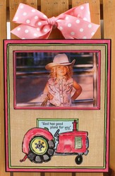 Tractor, God Has Good Plans For You Photo Frame, Pink