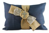 Oversized Navy Burlap Wrap Pillow w/ Cross bling