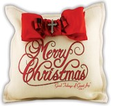 Merry Christmas Burlap Pillow with Red Bow and Cross Bling