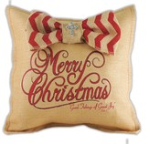 Merry Christmas and Good Tidings, Burlap Pillow with Red Chevron Bow