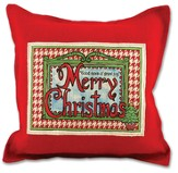 Merry Christmas Burlap Pillow, Red