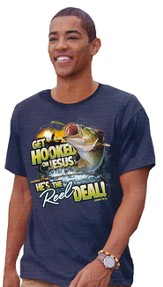 Hooked On Jesus Shirt, Blue, Small